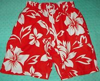 Mens Sonoma Orange and White Floral Swim Trunks Swimsuit Board Shorts Sz Medium