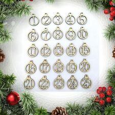 Lot de 25 Chiffres en bois pour Calendrier de l'Avent ou Noël. Emballage cadeau