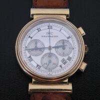 IWC SCHAFFHAUSEN 18K  Gold  Yellow  3739 Authentic SWISS Chronograph Wrist Watch
