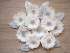 WHITE / SILVER BOUQUET Edible Sugar Paste Flowers Cup Cake Decorations Toppers