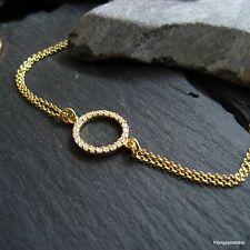 Circle of life Armband mit Zirkonia besetzt, 925er Silber vergoldet, L: 17+2 cm