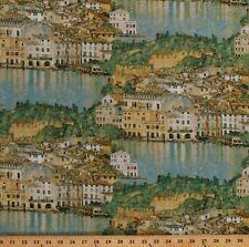Cotton Italian Cityscape Malcesine on Lake Garda Klimt Fabric Print BTY D769.49