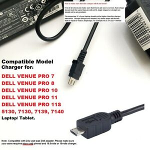 45W Charger for Dell Venue 11 Pro 7130, 11 Pro 7140 PRO 7 PRO 8 PRO 10, 5130