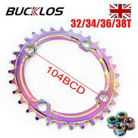 30-38T Single Colorful Chainring 104bcd Narrow Wide MTB Bike Crankset Chainwheel