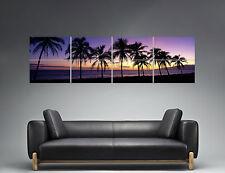 Puesta de sol beach Palmera Morado Color Panorámica Cartel Grande formato 168X59