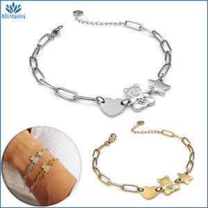 Bracciale da donna con orso orsetto cuore stella in acciaio maglia braccialetto