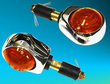 1 Pair Ox Eye Blinker e-certified 2 Handlebar End Indicators Chrome Plated