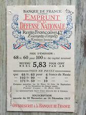 Bulletin de souscription Emprunt Nationale Banque de France  1917