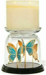 Bath & Body Works Butterfly Cloche 3-Wick Pedestal Candle Holder Spring NEW 2021
