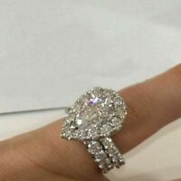 3Ct Pear Cut White Diamond Halo Antique Engagement Ring Set 14k White Gold Over