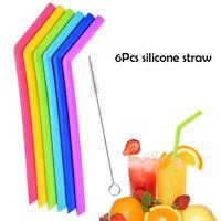 6Pcs Riutilizzabile Silicone Bere Cannucce Flessibile con Pulizia Spazzole
