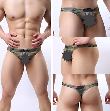 Mens L Sexy Underwear Camouflage Thong Underpants Bikini Briefs Military String