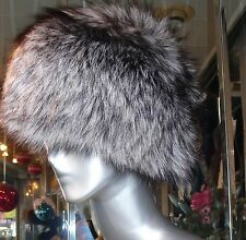 Gorgeous SILVER FOX FUR Pill Box Style Hat Timeless Russian Style Hat