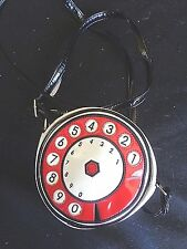 Carpisa white, red, black, patent novelty vintage telephone dial-x-body purse