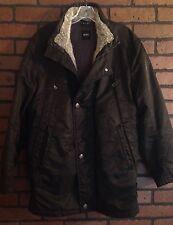 Hugo Boss Luxury Long Fur Collar Lining Jacket Size 38
