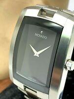 Movado Eliro Men's Watch Swiss Quartz 84 C6 1452 Black Dial Stainless Steel 7''