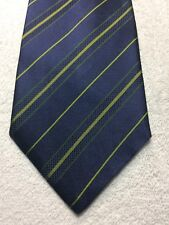 GEOFFREY BEENE MENS TIE NAVY BLUE WITH GREEN STRIPES 4 X 57