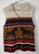 Breckenridge Womens Vest Knit Horses Zip Front Tan Brown Equestrian Sz P/L