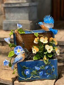 Vintage Artisan Miniature Dollhouse Mary McGrath Bird Morning Glories Wood Box