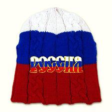 Bonnet tricoté avec inscription brode Russie, Bonnet Couleur blanc, bleu, rouge