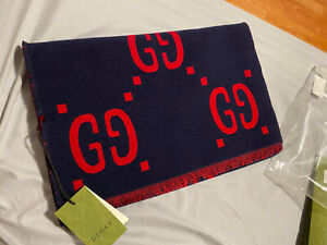 2021 gucci gg jacquard wool silk scarf blue/red 495592