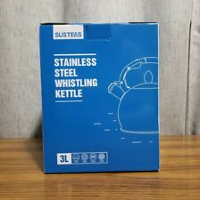 SUSTEAS White Stove Top Whistling Tea Kettle-Surgical Stainless Steel