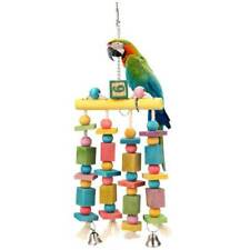 Bird Parrot Wood Hanging Swing Cage Toy Rope Budgie Fun Chew Perch Stand WS
