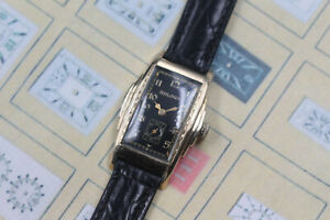 1941 Bulova Chief Long Stepped Engraved Art Deco Case Men's Vintage Watch