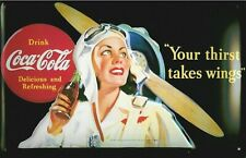 Coca Cola Your Thirst Takes Wings embossed Steel Wall Sign 300mm x 200mm (hi)