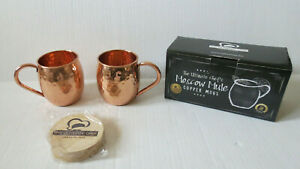 The Ultimate Chef's 100% Copper Moscow Mule Copper Mugs with wood coasters (u)