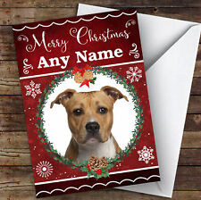 American Staffordshire Terrier Dog Animal Personalised Christmas Card