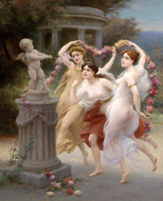 The Three Graces Nude Naked oil painting Printed on Canvas L1178