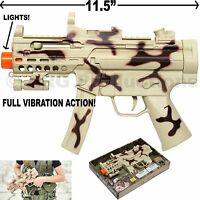MACHINE GUN TOY LIGHTS SOUND FULL VIBRATION MILITARY ASSAULT RIFLE CAMOUFLAGE