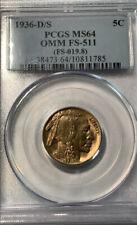 1936-D/S Buffalo Nickel OMM FS-511 PCGS MS64