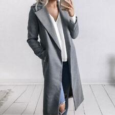 NEW Winter Womens Long Wool Coat Lapel Parka Jacket Cardigan Overcoat Outwear ..