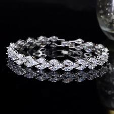 10Ct Marquise Brilliant Cut VVS1/D Diamond Tennis Bracelet 14K White Gold Finish