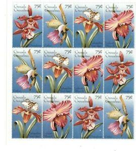 Grenadines 1996  - Flowers  - Sheet of Twelve  - MNH