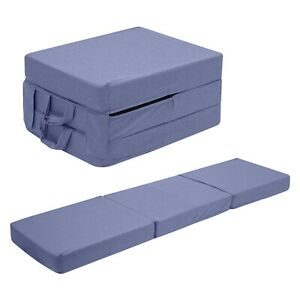 BlueGrey Fold Out Z Bed Cube Sleepover Guest Mattress Futon ChairBed Adults Kids
