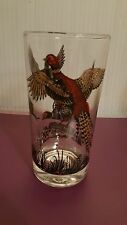Vintage Hunting Ring Neck Pheasant Clear Drinking Glass Continental Can Company