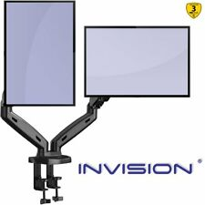 Invision Dual Monitor Mount Arm – Ergonomic Height Assisted (Gas Powered) Full