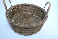"""Vintage 9.5"""" Round Wicker Rattan Woven Brown Basket Double Handles Storage"""