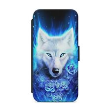 WHITE WOLF WITH ROSE WALLET FLIP PHONE CASE COVER FOR IPHONE SAMSUNG         s15