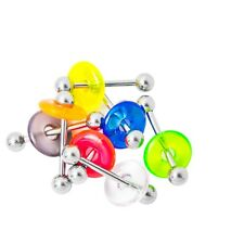 14ga Tongue Piercing Barbells with Acrylic Doughnut 7 Pack