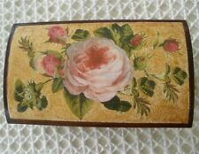 French Decoupage Wooden Trunk with Roses