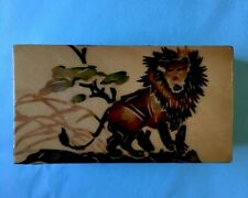 VTG Wooden box with lid Trinket Hand painted LION China Asian Art 4x2