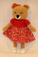 Lady Bear Handmade Amigurumi Stuffed Toy Knit Crochet Doll Baby Animal Toy 10""