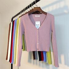 CHIC Womens V Neck Stretch Cropped Cardigan Girls Crop Rib Knit Coat Size 6 8 10