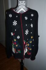 Victoria Jones Size Large Black Christmas Sweater Cardigan Snowman GC