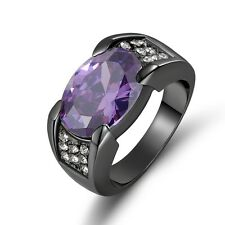 Black Gold Filled Nobby Mens Fashion Ringss Size 9 Halo Amethyst Rare Luxury 18K