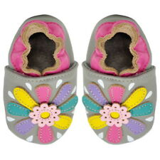 Baby Girls Lambskin Leather Soft Sole Shoes - Gray - Flower (6-12 Months)